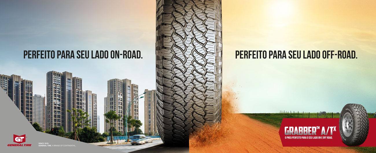 Grabber ATX - Imagem caminhonente com pneus Grabber ATX em terreno urbano
